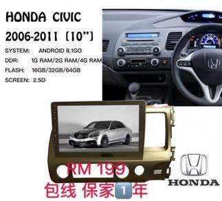 Honda civic fd 10* android player 1+16g MAX8