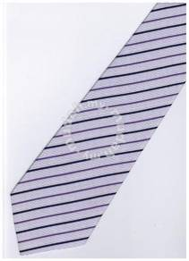 EPP08 Purple White Quality Striped Formal Neck Tie