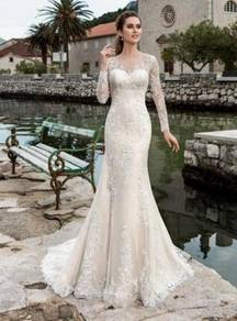 Long sleeve wedding bridal dress gown RB2050