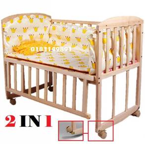 Katil Bayi Baby Cot Bed Rack Swing Whee l (A)