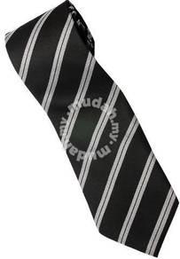 EB4 Black White Quality Striped Formal Neck Tie