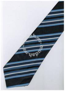 EDB9 Blue Black White Striped Formal Neck Tie
