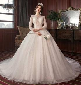 White long sleeve wedding bridal gown RB2055
