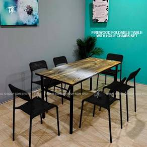 Foldable Dining Table 70X150cm and Hole Table set