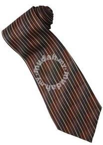 EBR8 Brown Khaki Black Striped Formal Neck Tie