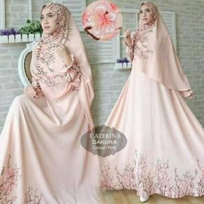 Muslimah long sleeve Catherina Sakura Syari dress
