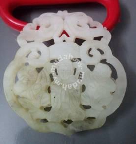 ABPJ-K017 White Jade Kwan Yin with 2 Child Pendant