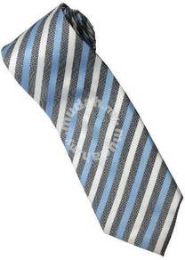 ELB6 Sky Blue Black White Striped Formal Neck Tie