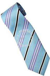 ELB4 Sky blue Purple Black White Striped Neck Tie