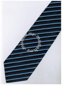 EDB6 Blue Black Blinking Striped Formal Neck Tie