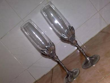 Cawan royal selangor pewter footed glass cup