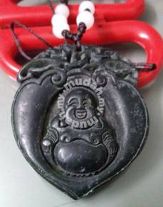 ABPJ-B013 Dark Jade Happy Buddha Pendant Necklace