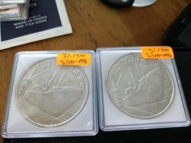 Singapore Ship 10 Dollar Coin 2 pcs