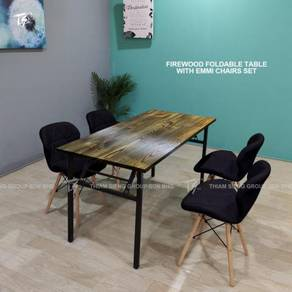 Foldable Table W70xL150 and 4 Emmi Chair Table set
