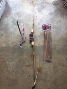 Full Set Vintage Archery Bow - Busur Memanah