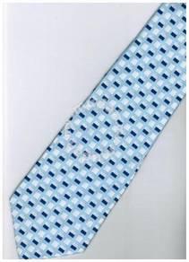 ELB1 Blue White Quality Striped Formal Neck Tie