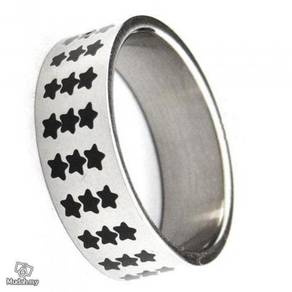 ABRSS-S008 20x3 Row Black Star Stainless Ring Sz10