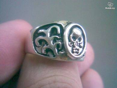 ABRSM-S005 Cute Rocker Skull Silver Metal Ring Sz9