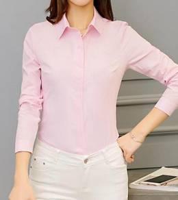 T071 Pink Long Sleeves Collar Top Shirt