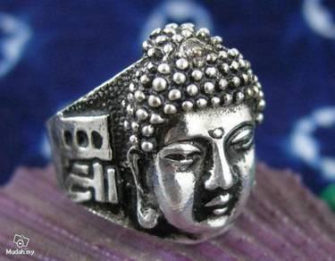 ABRSM-B002 Buddha Face Head Silver Metal Ring sz 9