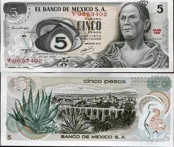 Mexico 5 pesos 1972 p 62 unc