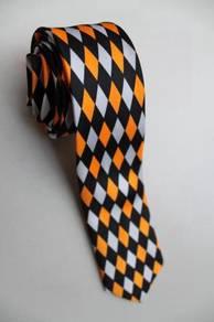 SLIM Orange Black White Diamond Striped Neck Tie