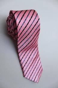 SLIM Pink Black Blue Red White Striped Neck Tie