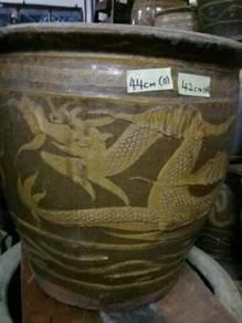 119 Antik tempayan naga antique dragon pot