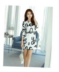 Women Long Sleeve Alphabet Plus Size Knit Dress