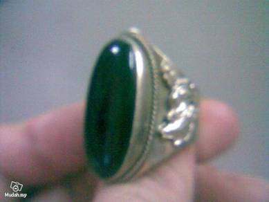 ABRSJ-B001 Oval Black Jade Metal Style Ring-All Sz