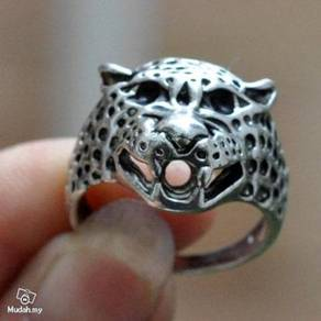 ABRSM-L007 Leopard Face Head Silver Metal Ring S10