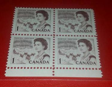 Setem Canada 1 Cent in Block of 4 Mint
