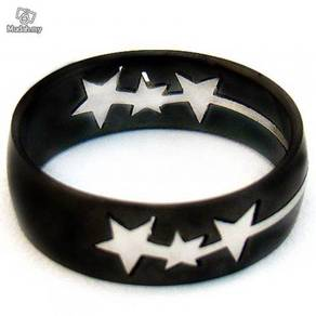 ABRSS-S002 Silver Star Black Stainless Ring Sz 10