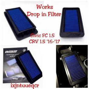 Works drop in filter honda FC 1.8 CRV X70 vellfire