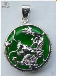 ABPJ-D007 Green Jade Dragon Silver Pendant Necklac