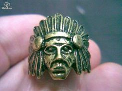 ABRB-R004 Punk Paragraph Red Indian Bronze Ring S5