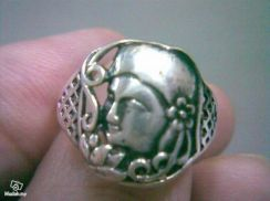 ABRSM-M001 Man Face Head Silver Metal Ring S9 9.5