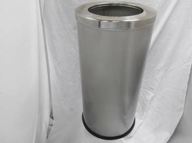 Stainless steel round bin open/flip top 380mm(h)
