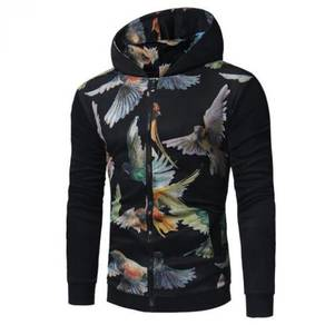 Men's 3D Abstract Stitching Zip Hooded MFCYG 9424