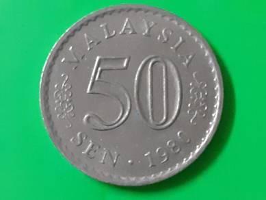 EEQ Duit 50sen 1980 syiling 50 sen parlimen coin