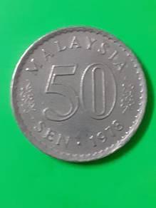 EEQ Duit 50sen 1978 syiling 50 sen parlimen coin