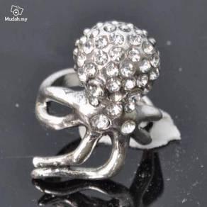ABRSM-O002 Octopus Silver Metal Crystal Ring Sz 8