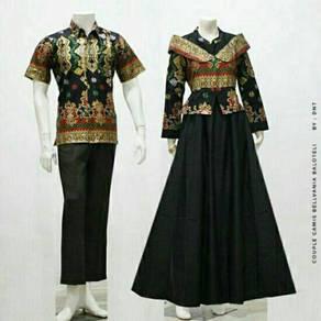 Muslimah couple set Batik Bellvania dress top