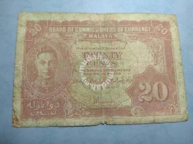 Malaya British 20 cents Old Bank Notes 1941