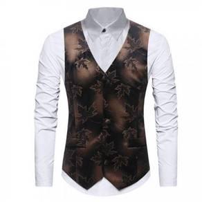 Leaf Print Breasted Vest Waistcoat MFCYG 9433