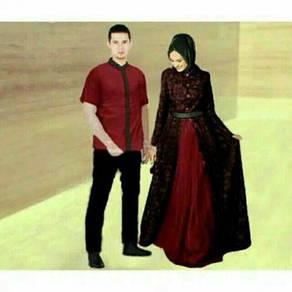 Muslimah long sleeve Zahira couple top kurta dress