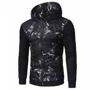 Men's 3D Abstract Print Stitching Zip MFCYG 9428