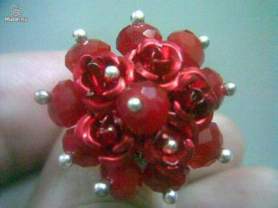 ABRSB-R003 Red Flowers Beads Silver Metal Ring FS