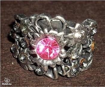 ABRSM-R001 Ruby Rhinestone Silver Metal Retro Ring