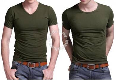 0509 Plain Army Green T-Shirt Short Sleeved V-Neck